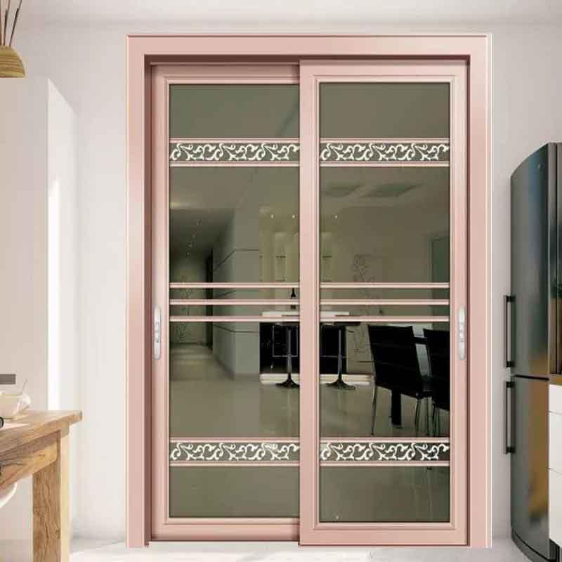 厂家定制隔音客厅铝合金吊趟门 厨房玻璃门价格白色客厅推拉门配套图片