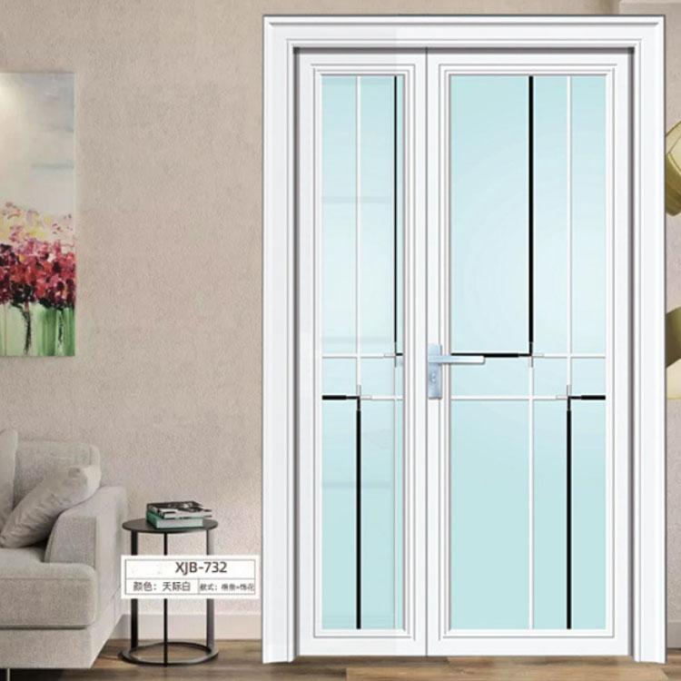 铝合金对开门钛镁铝合金双层钢化玻璃子母门卫生间门厨房厕所门配套图片